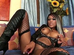 Black hottie Scarlett Dior is deep fucking her pussy with a magic dildo