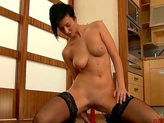 Sweet dark haired babe Emylia Argan is shoving her filthy fingers inside of her tight vagina, pleasing herself on camera and doing many others things.