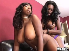 Voluptuous chocolate lesbians use a few sex toys to make each other cum