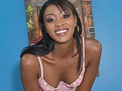 From head to toe, this ebony hottie has it all. Rayne spreads her long, dark legs for the camera, showing off her shaved pink snatch as she rubs her clit until it's swollen while massaging her tits. After fingering her pussy and getting her juices flowing, she's greeted by a big white dick that barely fits inside her mouth and down her throat. She sucks it until it's completely stiff, and licks his balls before riding it with her sexy ass bouncing for the camera. Her pussy gets slammed as her boobs bounce for him, taking a pounding as she cums over and over again, before he fills her pussy up with his hot jizz.