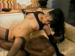 Sexy Ebony Babe Sucks and Fucks a Big Menacing Cock - Vintage Porn Scene